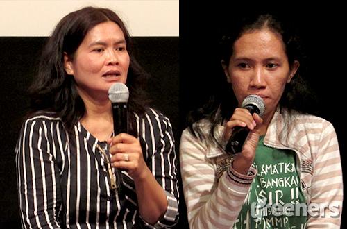 (Kiri-kanan) Suryati Simanjuntak dan Maria bersama-sama memperjuangkan hak masyarakat dan tanah adat. Foto: greeners.co/Danny Kosasih