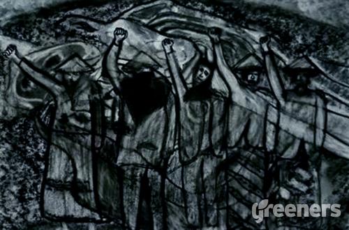 Lukisan Andreas Iswanto seri Solidaritas Bagi Ibu-ibu Rembang. Foto: Ist.