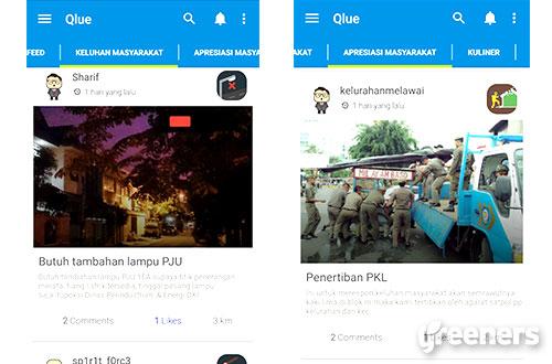 """Berbagai bentuk laporan dan infirmasi warga, seperti kurangnya lampu jalan atau adanya penertiban petugas dapat dilihat dalam aplikasi """"Qlue"""" dengan mengunduhnya pada laman smartcity.jakarta.go.id. Gambar: Ist."""