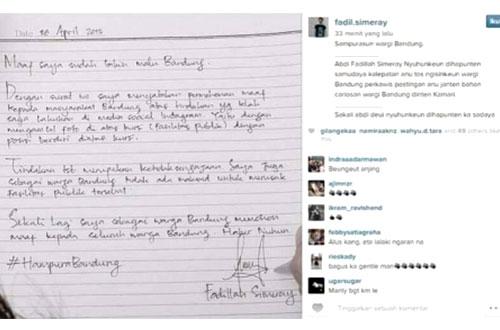 Ini surat permintaan maaf Fadillah Simeray yang ditujukan kepada seluruh warga Bandung. Foto: instagram fadil.simeray