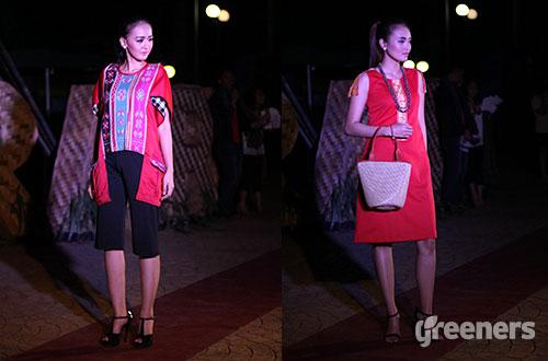Koleksi busana dari Teras Mitra (kiri) dan Borneo Chic (kanan). Foto: greeners.co/Gloria Safira