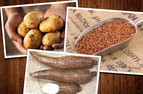 Beras merah, singkong dan kentang adalah beberapa contoh sumber karbohidrat selain nasi. Foto: Ist.