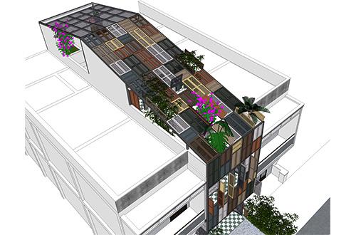 Jendela berbuku warna-warni difungsikan menjadi fasad depan dan atap di Vegan House. Foto: inhabitat.com