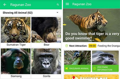 """Tampilan aplikasi """"Ragunan Zoo"""". Gambar: Ist."""