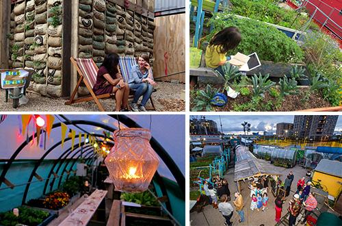 """Warga di sekitar King's Cross, Inggris dapat menjadikan """"Skip Garden"""" tempat untuk berkumpul, belajar, dan makan bersama. Foto: inhabitat.com"""