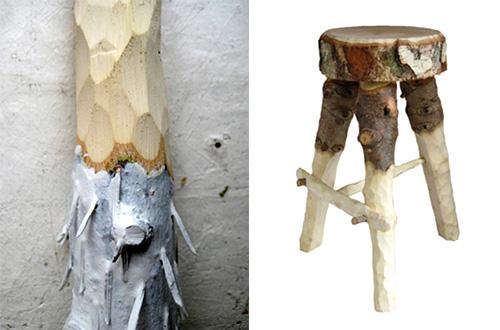 Furnitur dari pohon natal yang sudah tidak dipakai karya Fabien Capello. Foto: inhabitat.com