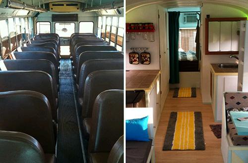 Kondisi di dalam bus sebelum direnovasi (kiri) dan sesudah di renovasi (kanan). Foto: inhabitots.com