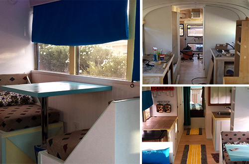 Bus yang kini menjadi rumah Patrick Schmidt dilengkapi panel surya, konverter dan baterai. Foto: inhabitots.com