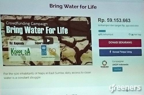 """Tampilan laman """"Bring Water For Life"""" di situs kitabisa.com. Foto: greeners.co/Renty Hutahaean"""