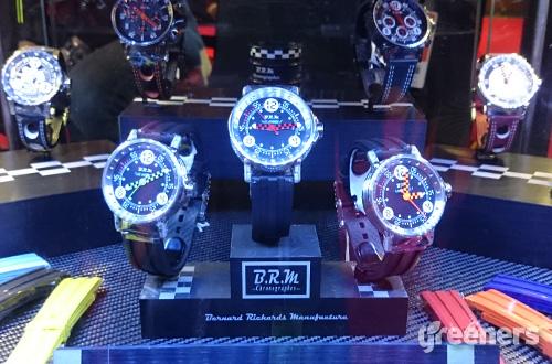 """Beberapa seri jam tangan BRM """"Chronographes"""" yang dipamerkan dalam ajang IIMS 2016 yang berlangsung pada tanggal 7-17 April di JIEXpo Kemayoran, Jakarta. Foto: greeners.co/Renty Hutahaean"""