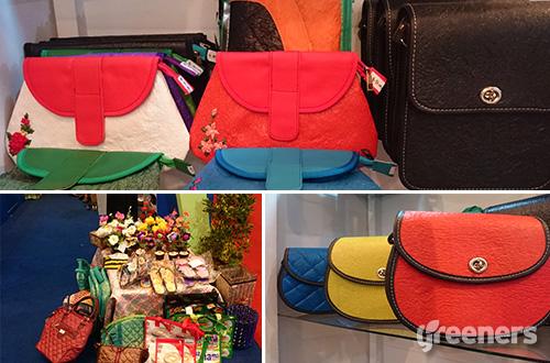 Beberapa produk tas krésékA (atas dan kanan bawah) dan beberapa kerajinan tangan dari limbah plastik (kiri bawah) yang dipamerkan Junaedi dalam acara ICCEFE 2016 yang berlangsung pada 14-17 April 2016 di JCC Senayan, Jakarta. Foto: greeners.co/Renty Hutahaean