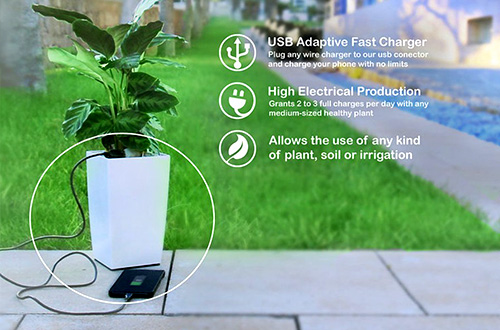 Bioo Lite merupakan sebuah pot tanaman pertama di dunia yang bisa mengisi ulang daya untuk gawai semacam ponsel pintar atau tablet. Foto: Bioo Lite/inhabitat.com