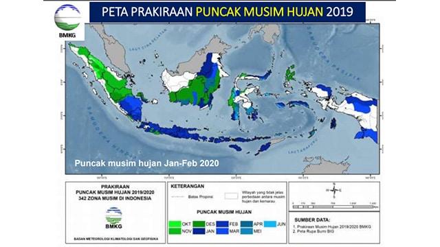 BMKG Puncak Musim Hujan Akan Terjadi Pada Januari-Februari tahun 2020